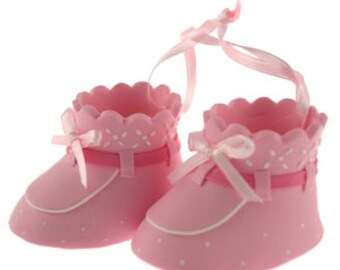 Pink Baby Booties Cake Topper/ Baby Shower Cake Topper/ Pink Baby Booties Cake Topper/ Baby Girl Cake Topper/ Clay Baby Booties