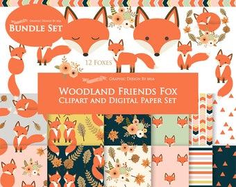 Fox Clipart, Red Fox, Woodland Friends, Fox Digital, Fox, Autumn, Fall Clip Art + Digital Paper Set - Instant Download