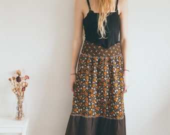 Vintage 70s Style Retro Skirt, Bohemian Maxi Skirt, Floral Print, Hippie, Boho Clothing