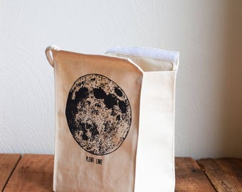Lunch Bag - Screen Printed Lunch Bag - Reusable - Recycled Cotton - Lunch Box - Canvas Tote Bag - Canvas Lunch Bag - Moon Phase - Full Moon