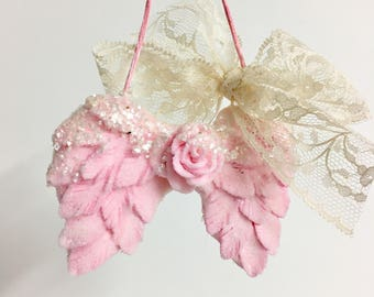 Pink Angel Wings Christmas Ornament with clear glass glitter. shabby chic glitter lace pink with glitter vintage.