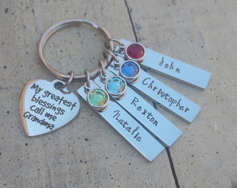 Custom Grandma Key chain / hand stamped jewelry / Grandma Keychain / personalized Grandma Keychain /  Grandma 1 2 3 4 5 6  name  Keychain