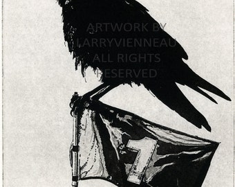 Raven artwork , Raven, crow, Golf, Etching 5 x 7inch 2011