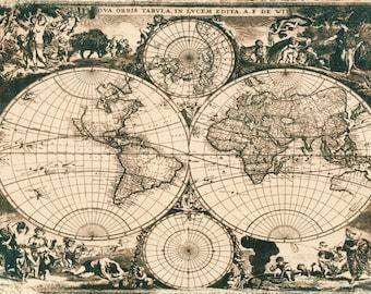 Antique world maps, Old world map. Tea toned cyanotype