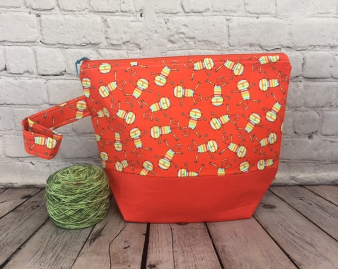 Cats w/ Full length pocket, Knitting project bag, Crochet project bag,  Zipper Project Bag, Yarn bowl