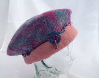Beaded Rolled Brim Beret Pink, Purple, and Teal Felt Hat Embroidered