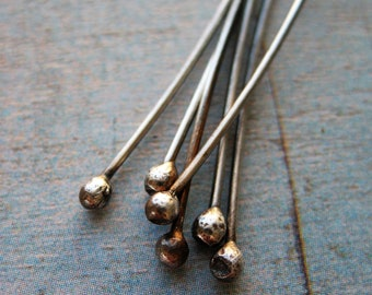 20 gauge Sterling Silver 3 inch Headpins in Bright or Antiqued Finish - 6 pieces
