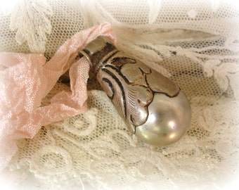 chunky vintage tibetan pearl pendant GORGEOUS silvery pearl antiqued silver overlay