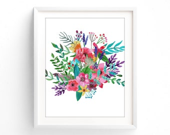 Printable Botanical, Various Sizes Included, Turquoise floral, teal wall art
