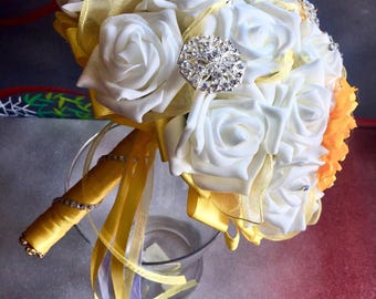 Wedding Jewel Bouquet white roses and sunflowers