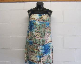 Vintage 80s / 90s Hawaiian Tropical Cotton Dress Floral Beach Palm Trees Womens Hawaiian Hawaii Dress
