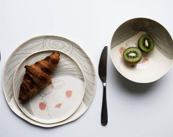 Unique ceramic plate, porcelain side plate, porcelain dinner plate, breakfast plate set, grandmother's day gift, gift for grandma, fun gift