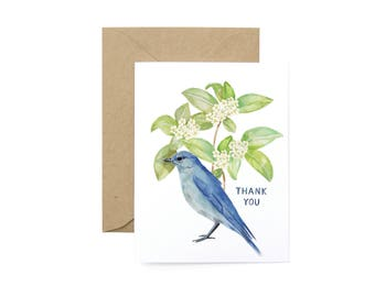 Bluebird and Greenery Thank You Card - Illustrated Animal, Appreciation, Thanks Greeting Card