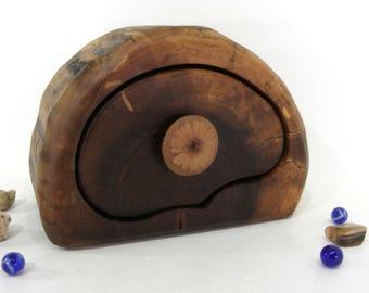 Black Walnut Trunk Box, clay flower knob, wood drawer, wedding gift, wood art, keepsakes box, wood anniversary, jewelry box