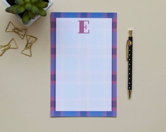 Personalized Plaid Notepad, Blue Plaid, Pink Plaid, Red Plaid