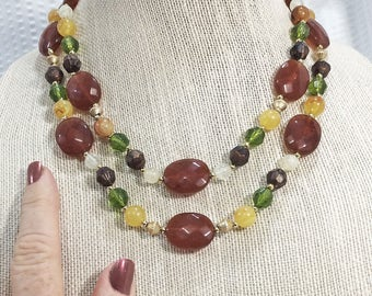 Vintage Amber, Green, and Yellow Bead Multi-strand Necklace