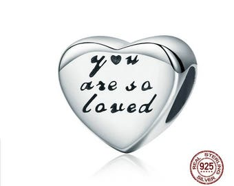 YOU ARE So LOVED Charm, 100% Real 925 Sterling Silver, Fits Pandora, Famous European Snake Chain Bracelets, DiY Jewelry