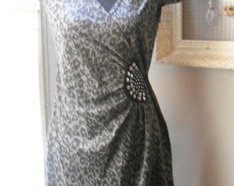 vintage Leopard print with silver studs accent dress Size 10 Rockabilly ~ Animal Print Dress