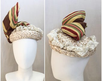 Vintage Hat // 1950s - 1960s does 1800s // Michelle Straw Hat w/ Added Lace & Removable Wired Movable Fabric Covered Wings Style Design