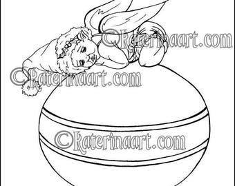 Instant download Coloring Page Santa Baby Fairy Christmas Ornament
