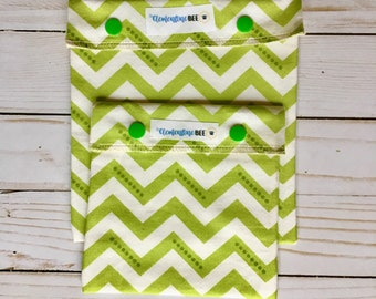 Reusable Sandwich & Snack Bag SET - lined with Organic Cotton - Plastic-free - Snap Top - Green Chevron