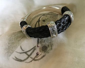 Three Strand Horsehair Cuff Bracelet