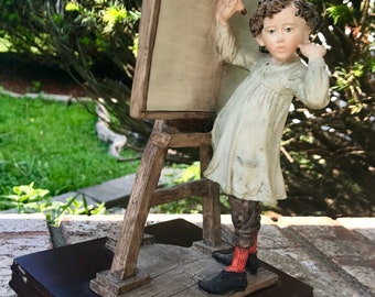 Beautiful Rare 1985 Arnart Imports Inc. Hand Painted Porcelain School Boy Figurine