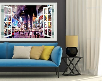 Times Square NYC 3d Window View Removable Decal Home Decor Mural Wall Vinyl