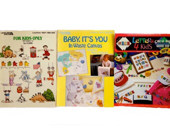 Counted Cross Stitch Pattern Books, Counted Cross Stitch Books, Needlecraft Books - For Kids Only, Letters 4 Kids, Baby It's You – Set of 3