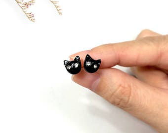 Tiny Black Cat Earrings, Cat Stud Earrings, polymer clay cat, cat sculpture, cat lover gifts