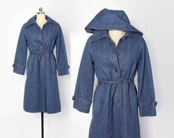 Vintage 70s DENIM Trench Coat / 1970s Faux Fur Lined Belted Winter Coat with Detachable Hood
