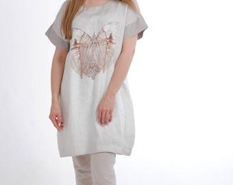 Linen tunic dress, loose linen tunic with short sleeves, linen dress for women, casual linen tunic, linen summer dress