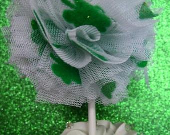 Shamrock tulle Poms- Limited edition- St. Patricks Day- Tulle poms- Cupcake topper- Tulle pom pom- -Party decor - Tulle pompoms