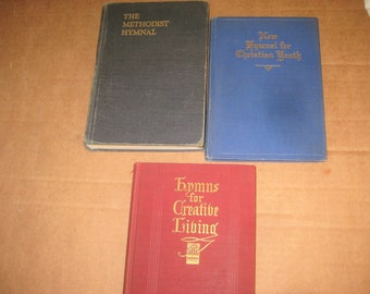 Methodist, Baptist, Youth Hymnals    lot of 3   [c5018o]