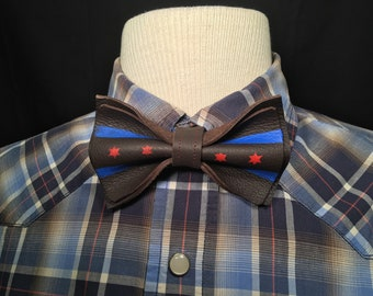 Genuine Leather Chi Flag Bow Tie