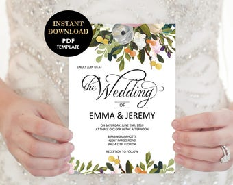 5x7 card Floral Wedding Invitation, Wedding Template, Printable Wedding Invitation card (Emma), Editable Text