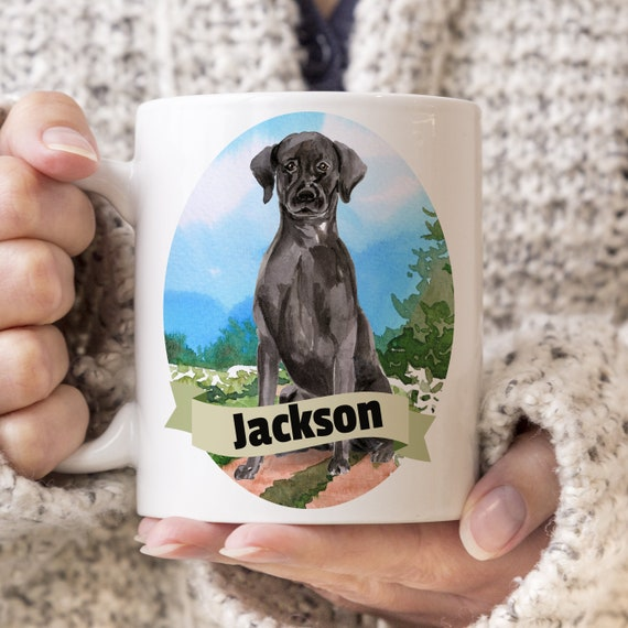 Black Lab Custom Dog Mug - Get your dogs name on a mug - Dog Breed Mug - Great gift for dog owner - Black Lab mug