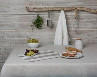 """Linen tablecloth-Linen table cloth-Table linens- Beige Linen Tablecloth-Dining Linen Tablecloth- Width 57"""" x Custom length ."""