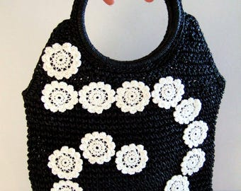 Boho Chic Woven Bag Unique Black Purse Appliqued White Crochet Flowers Handmade Spiral Design Black Bag Gift for Her Valentine's Day Gift