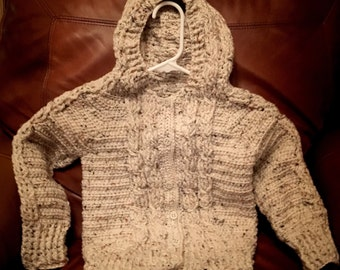 Irish Twist Hand Crocheted Hoodie Sweater size 5/6