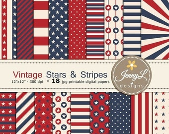 50% OFF Vintage 4th of July Digital Paper, Stars and Stripes, Patriotic, Memorial Day, Labor Day Celebration, Red Blue Printable Digital Pap