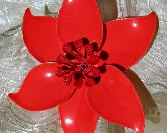 Coral Vintage Brooch Pin Flower Statement Runway Orange Bloomer Marilyn Mid Century Pinwheel High Relief Layered Spray Mad Men Red 50s 60s