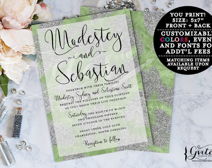 Green and silver wedding invitation, Spring wedding, gray and sage green, glitz and glam, couture, modern invitations, double sided, 5x7.