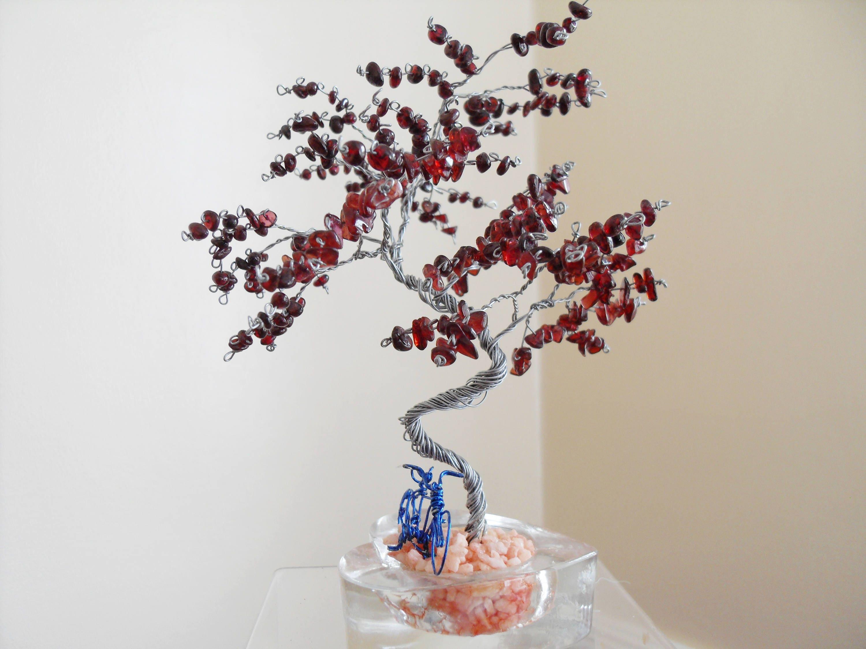 Draht Skulptur Baum Fahrrad Granat Inneneinrichtungen