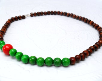 Wooden Beaded Necklace - Colour Block - Green dash red - reclaimed beads - earth friendly