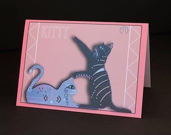 "Kitty Cat 4.25"" x 6"" Blank Greeting Card"