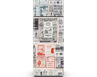 Vintage Newspaper Fridge Decal - Self Adhesive Fridge Wrap - HD Print
