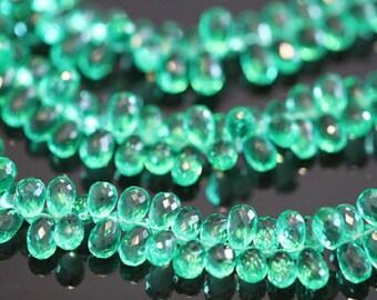Emerald Green Quartz Faceted Tear Drop Briolettes, 10 - 12 mm, 6 beads GM2205FD/11/6 #84