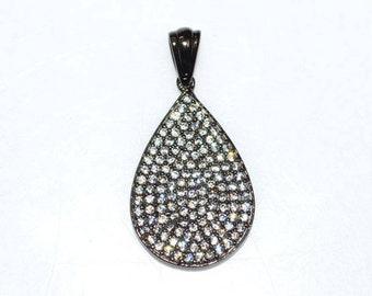 1 Piece Beautiful Pave Cubic Zirconia Pear Drop Pendant-925 Sterling Silver Pendant, CZ Pendant, Brand New, 25 x 15 mm, CJ110