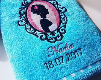 Custom embroidered shower name choice sheet
